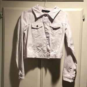 Cropped White Jean Jacket